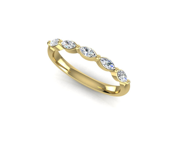 Marquise 5 Diamond - Yellow Gold Wedding Ring King