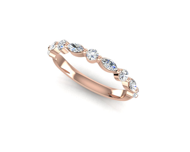 Marquise and Round Brilliant Diamond (Larger) - Rose Gold Wedding Ring King