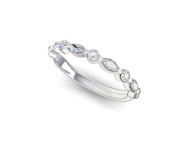 Marquise and Round Brilliant Diamond (larger) - White Gold & Platinum Wedding Ring King
