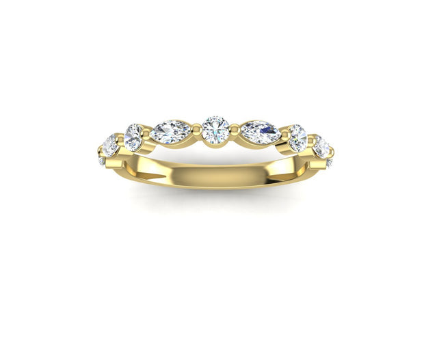 Marquise and Round Brilliant Diamond (Larger) - Yellow Gold Wedding Ring King