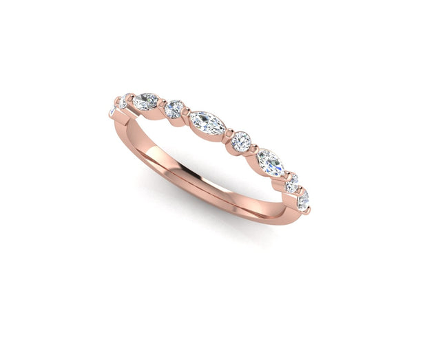 Marquise and round brilliant diamond - Rose Gold Wedding Ring King