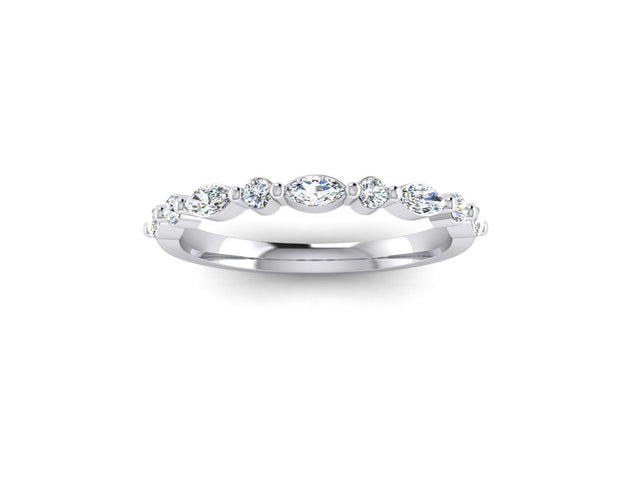 Marquise and round brilliant diamond - White Gold & Platinum Wedding Ring King 18ct White Gold