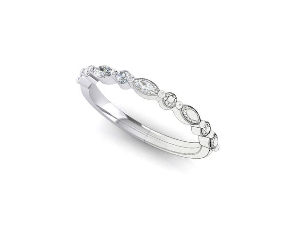 Marquise and round brilliant diamond - White Gold & Platinum Wedding Ring King