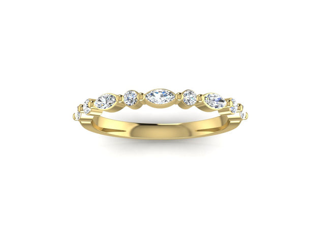 Marquise and round brilliant diamond - Yellow Gold Wedding Ring King 18ct Yellow Gold