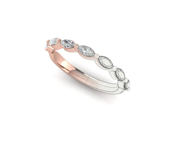 Marquise diamond - Rose Gold Wedding Ring King