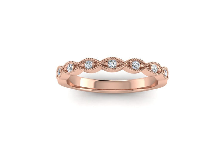 Marquise Shape - Rose Gold Wedding Ring King 9ct Rose Gold