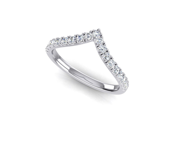 Pointed Fitted Wedder Diamond Ring - White Gold & Platinum Wedding Ring King