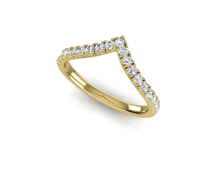Pointed Fitted Wedder Diamond Ring - Yellow Gold Wedding Ring King
