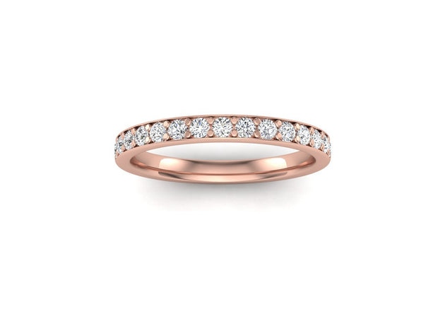 Queen Anne 2 Bead Pave Setting - Rose Gold Wedding Ring King 18ct Rose Gold 1.6mm