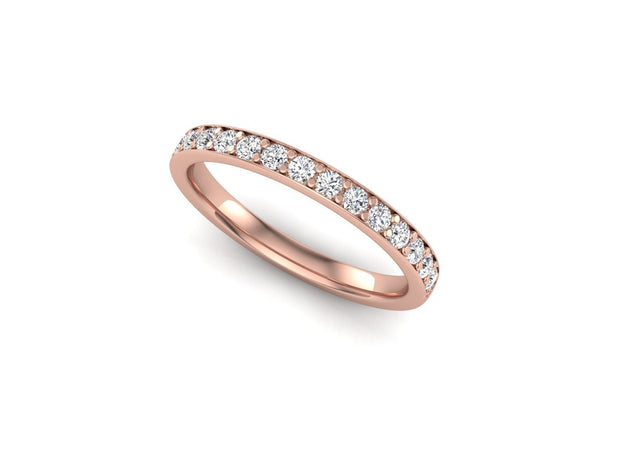 Queen Anne 2 Bead Pave Setting - Rose Gold Wedding Ring King 18ct Rose Gold 1.8mm