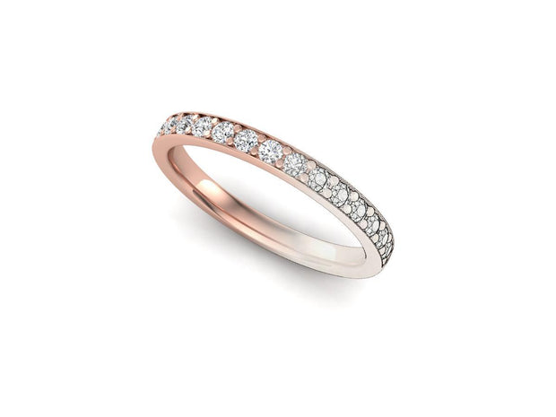 Queen Anne 2 Bead Pave Setting - Rose Gold Wedding Ring King