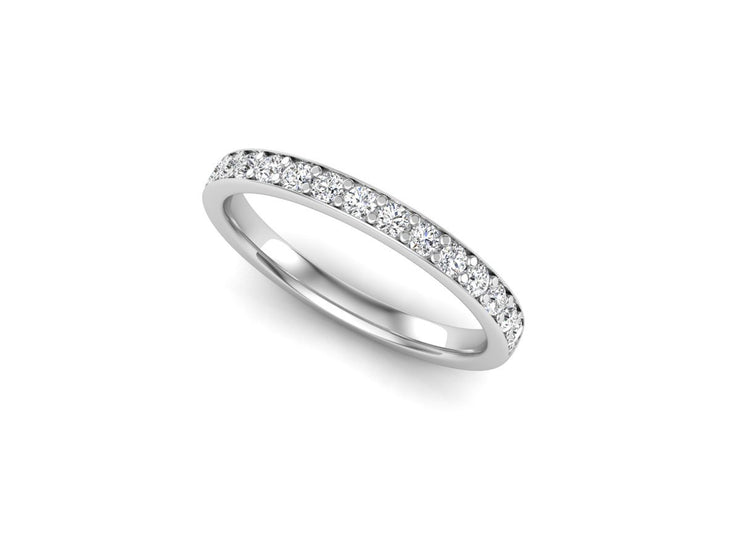 Queen Anne 2 Bead Pave Setting - White Gold & Platinum Wedding Ring King 18ct White Gold 1.6mm