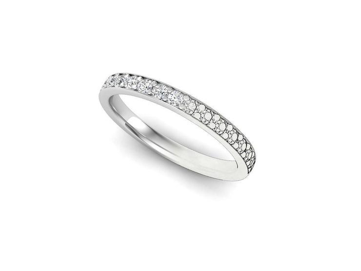 Queen Anne 2 Bead Pave Setting - White Gold & Platinum Wedding Ring King