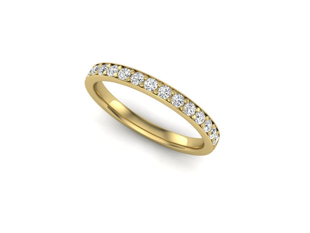 Queen Anne 2 Bead Pave Setting - Yellow Gold Wedding Ring King 18ct Yellow Gold 1.6mm