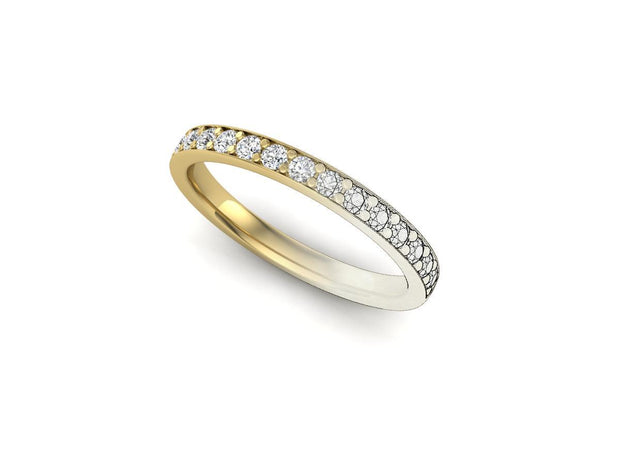 Queen Anne 2 Bead Pave Setting - Yellow Gold Wedding Ring King