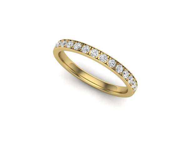 Queen Mary 4 Bead Pave - Yellow Gold Wedding Ring King 18ct YG 1.6mm