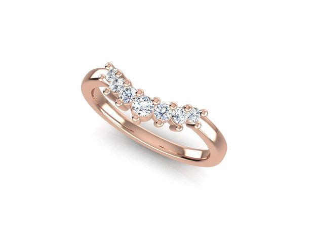 RB 7 Curved Round Diamond Ring - Rose Gold Wedding Ring King