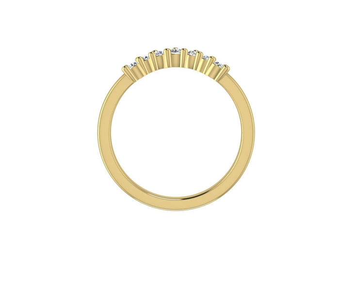 RB 7 Curved Round Diamond Ring - Yellow Gold Wedding Ring King