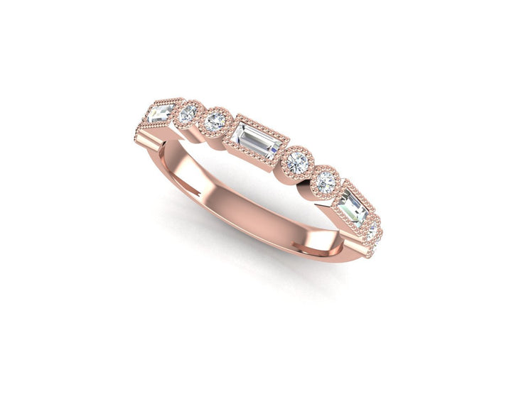 Stacker 1 Round Diamond Ring - Rose Gold Wedding Ring King 18ct Rose Gold