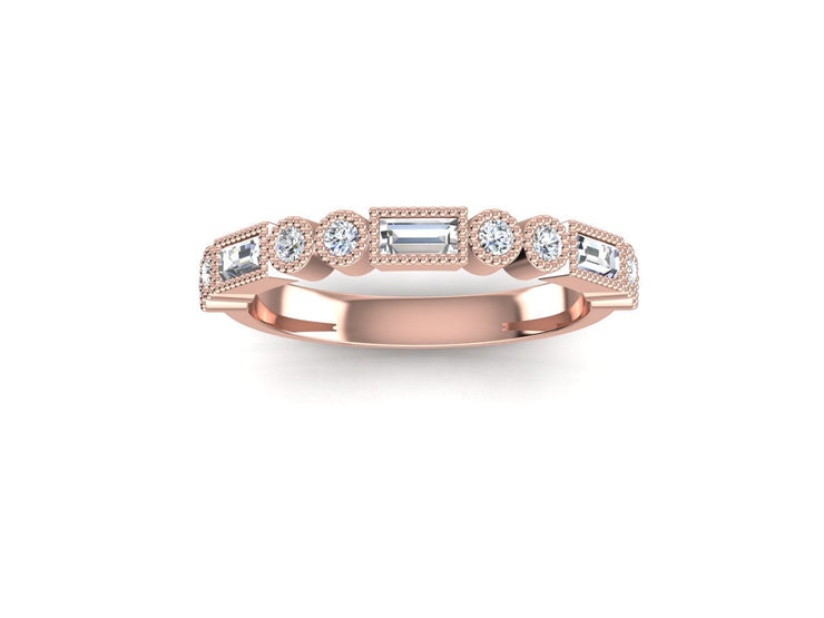 Stacker 1 Round Diamond Ring - Rose Gold Wedding Ring King