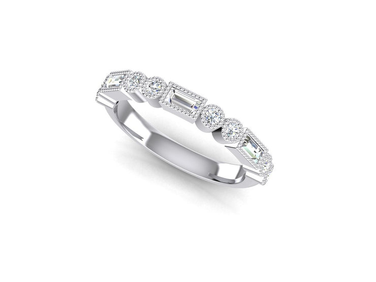 Stacker 1 Round Diamond Ring - White Gold & Platinum Wedding Ring King 18ct White Gold