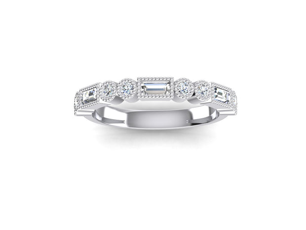 Stacker 1 Round Diamond Ring - White Gold & Platinum Wedding Ring King