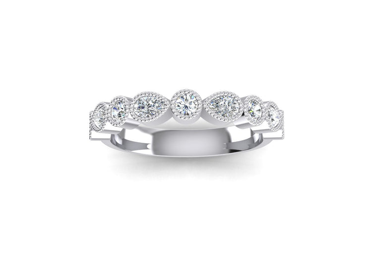 Stacker 3 Round Diamond Ring - White Gold & Platinum Wedding Ring King Platinum