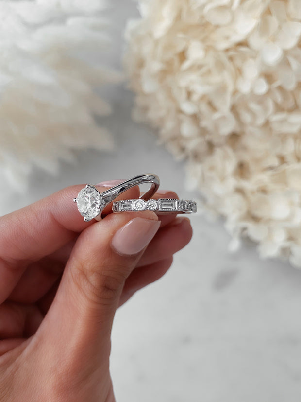 The Unique Baguette and Round Diamond Ring - Rose Gold Wedding Ring King