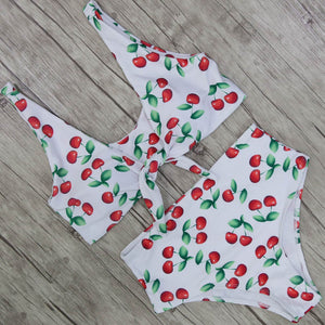 Old Fashion Cherry swim suit with tie at front for perfect touch