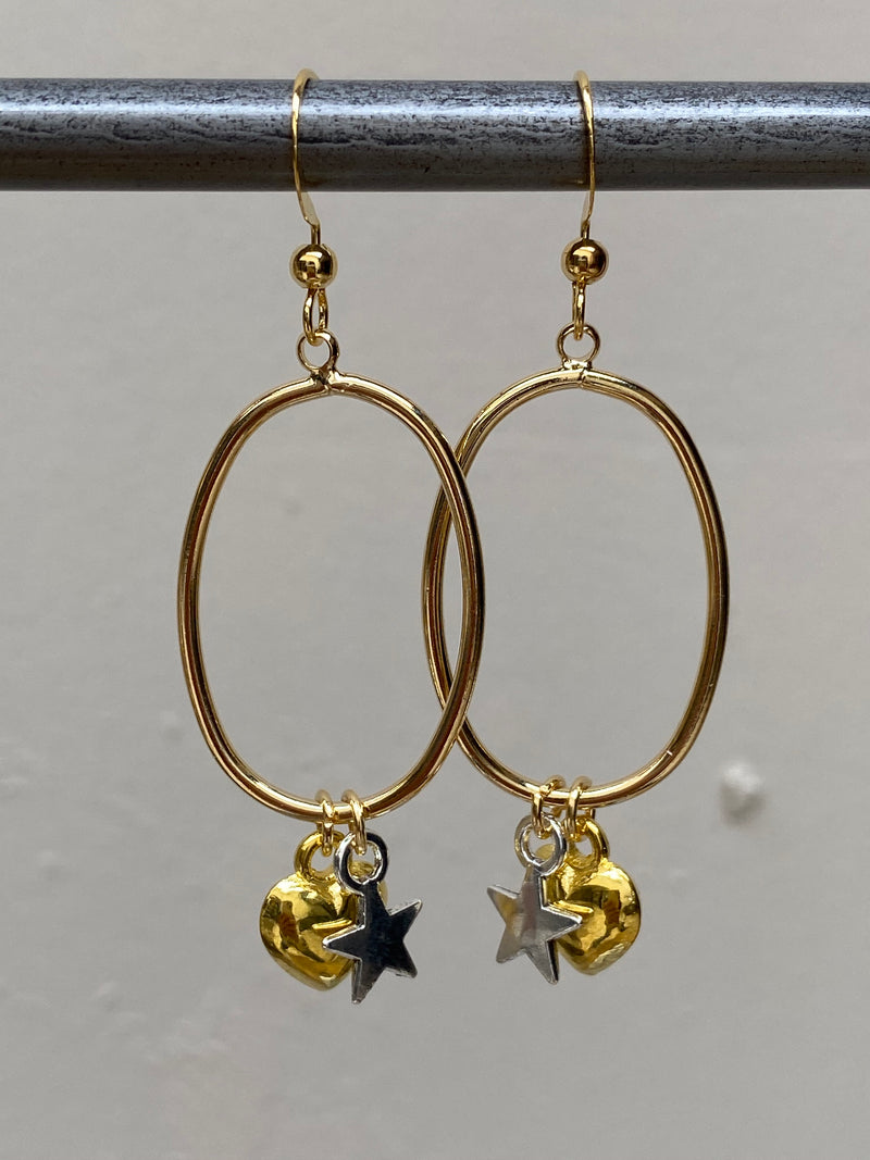 Heart And Star Earrings