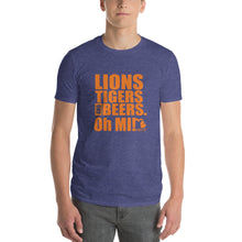 Load image into Gallery viewer, Lions, Tigers and Beers. Oh MI! (Unisex, Short-Sleeve T-Shirt, Heather Blue) - MIbeers