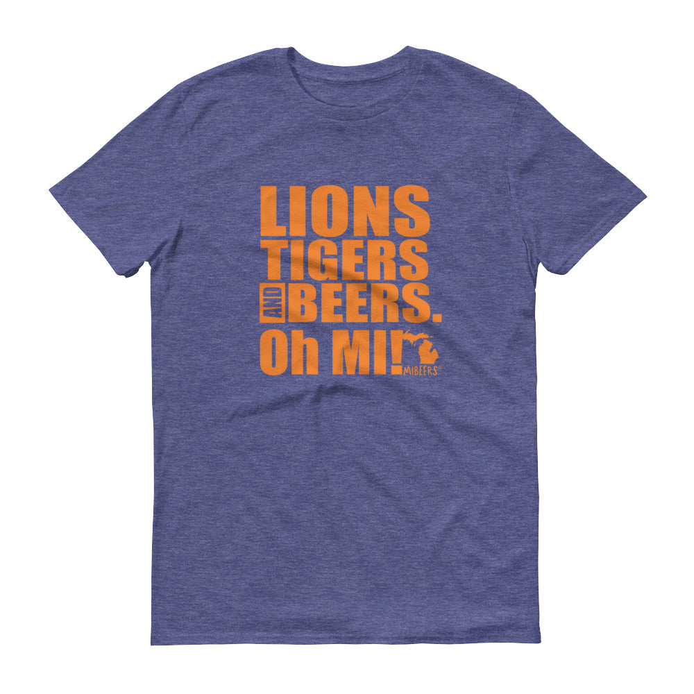 Lions, Tigers and Beers. Oh MI! (Unisex, Short-Sleeve T-Shirt, Heather Blue) - MIbeers