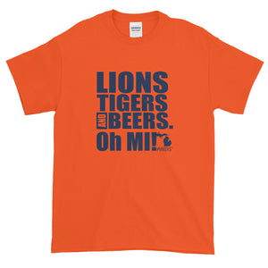 Lions, Tigers and Beers. Oh MI! (Men's Short-Sleeve T-Shirt, Orange) - MIbeers