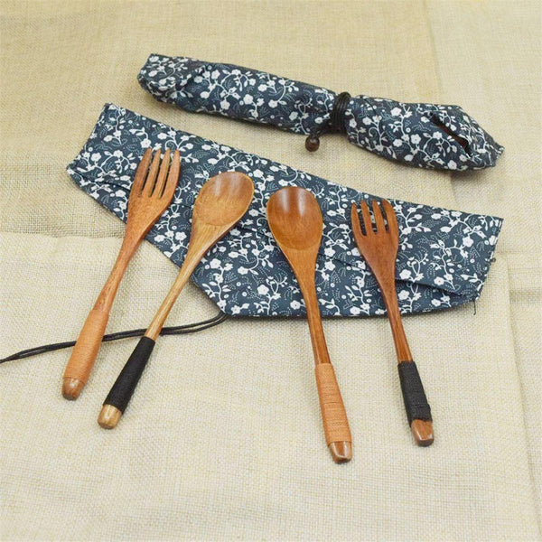 Eco-Friendly Japanese Style Wooden Cutlery Kit - Cutlery