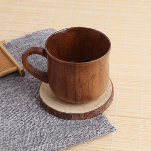 Natural Wooden Coffee Cup With Handle - Dark Brown