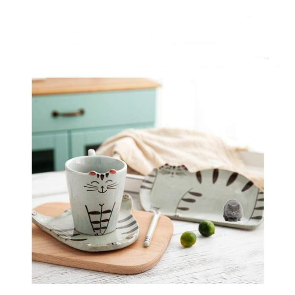 Cute Cat Ceramic Mug & Plate - Cup & Mug
