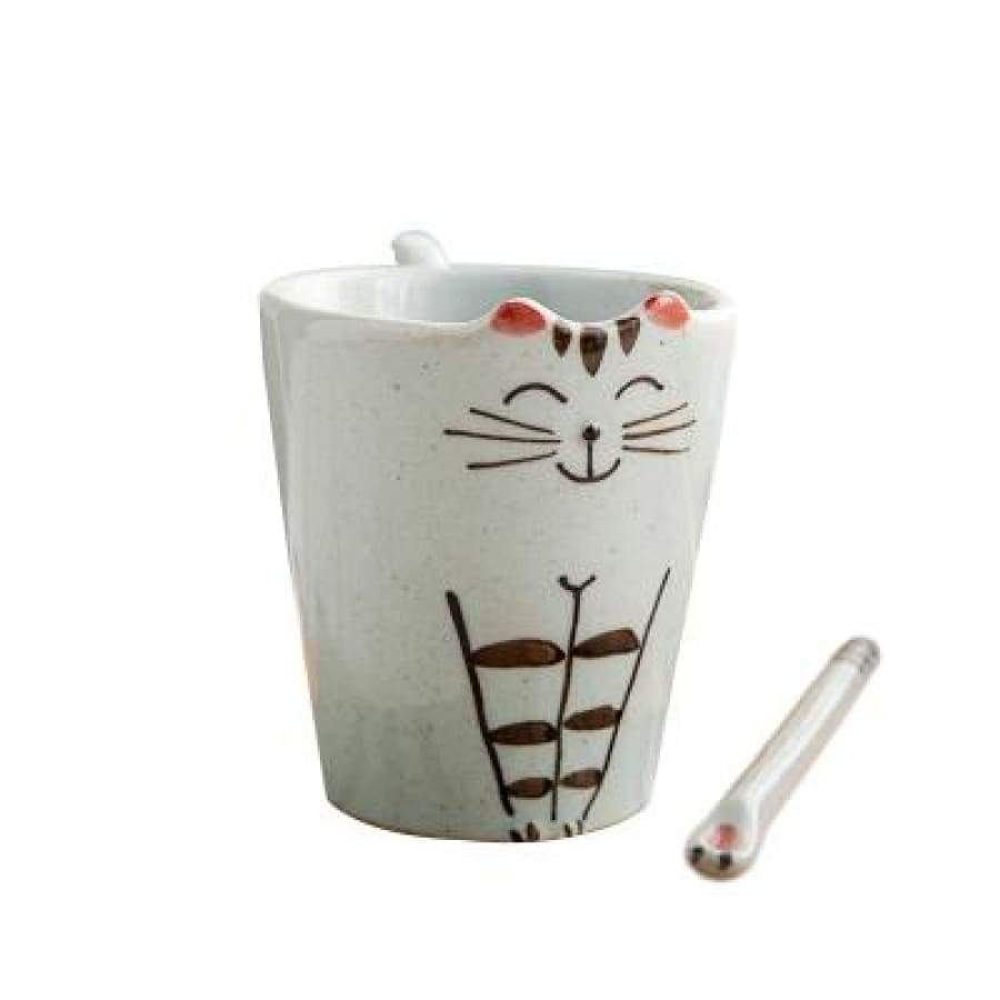Cute Cat Ceramic Mug & Plate - Mug With Spoon - Cup & Mug