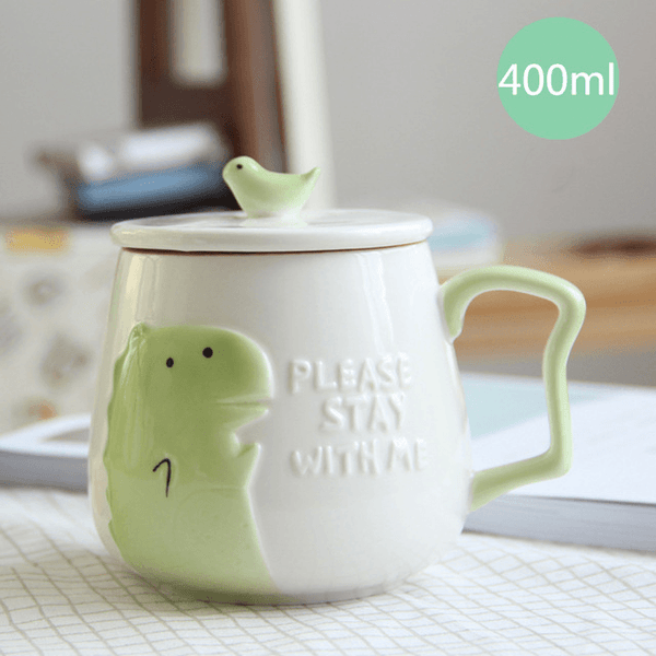 3D Animal Flamingo White Ceramic Coffee Mug With Lid - Dinosaur - Cup & Mug