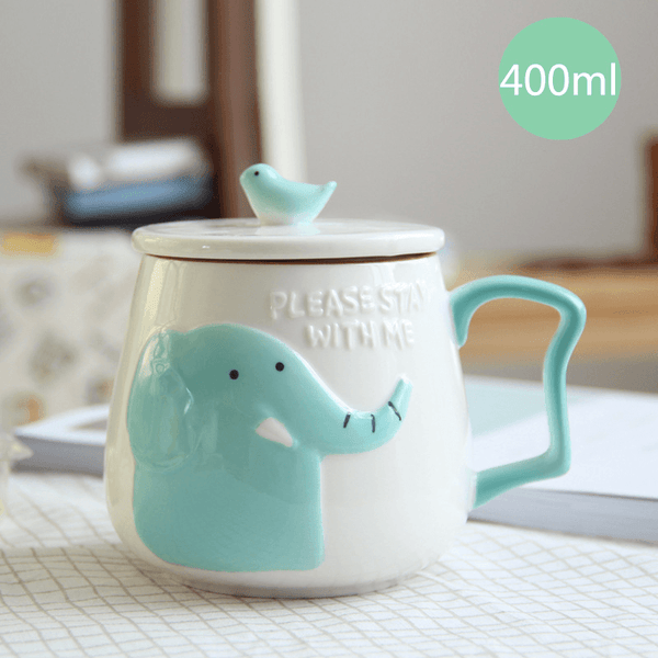 3D Animal Flamingo White Ceramic Coffee Mug With Lid - Elephant - Cup & Mug