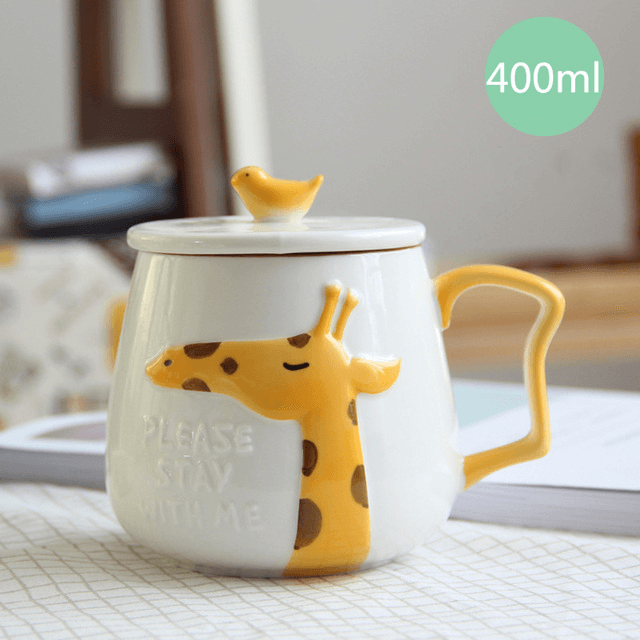 3D Animal Flamingo White Ceramic Coffee Mug With Lid - Giraffe - Cup & Mug