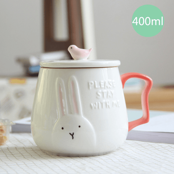 3D Animal Flamingo White Ceramic Coffee Mug With Lid - Rabbit - Cup & Mug
