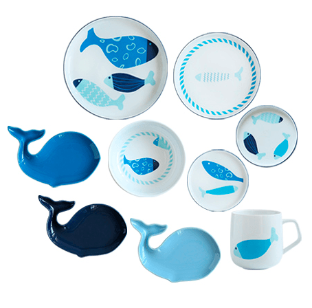 Blue Fish Ceramic Cup - Plate