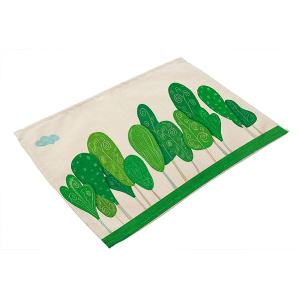 42x32cm Green Leaves Pattern Linen Placemat