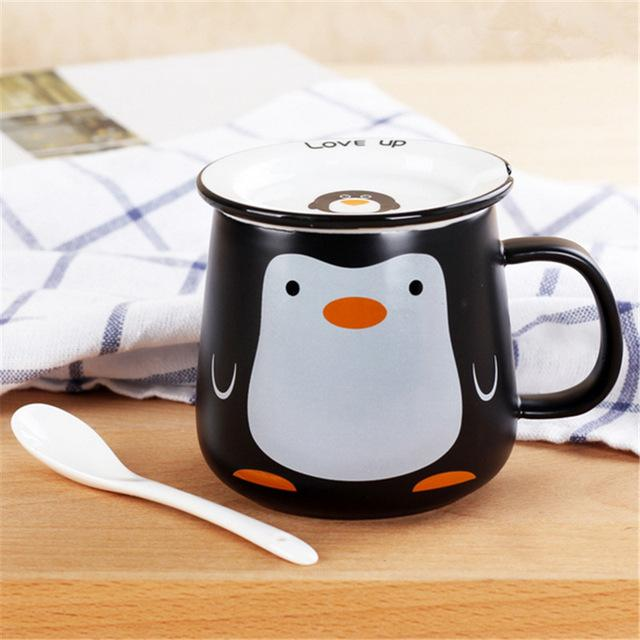 Funny Animal Ceramic Mug Set - Black Penguin / 320Ml