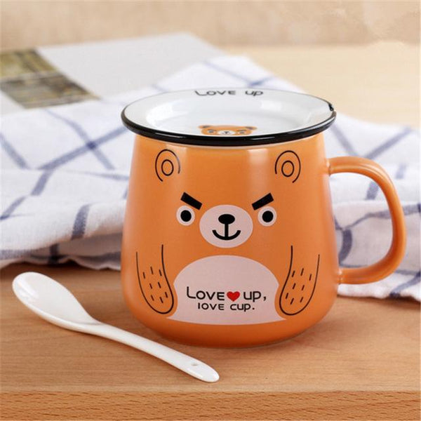 Funny Animal Ceramic Mug Set - Brown Bear / 320Ml