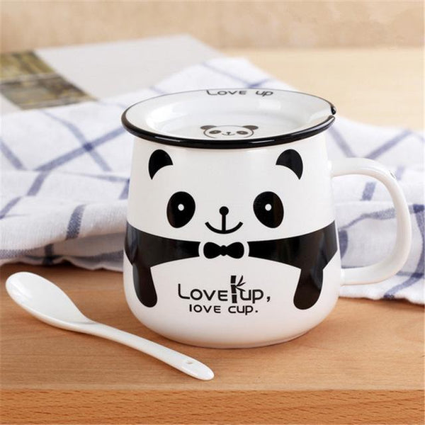 Funny Animal Ceramic Mug Set - White Panda / 320Ml