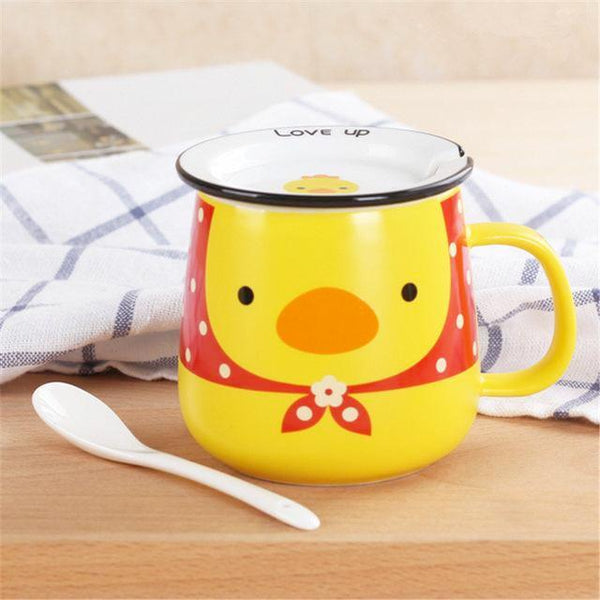 Funny Animal Ceramic Mug Set - Yellow Duck / 320Ml
