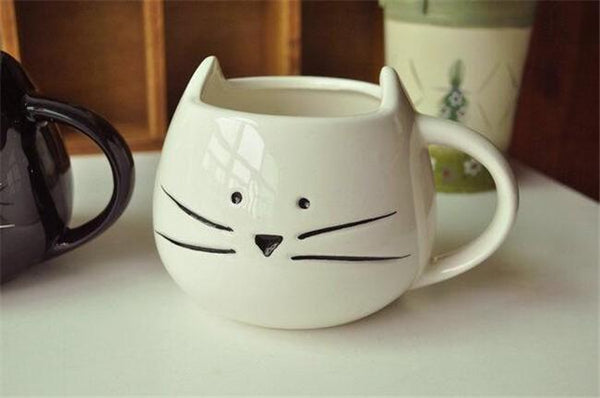 Cat In The Cup -Ceramic Cup - White
