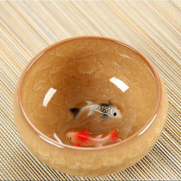 Ice Crack Glaze Ceramic Kung Fu Tea Set Anaglyph Fish Cup On Single Cup Sample Tea Cup - <200Ml / Yellow