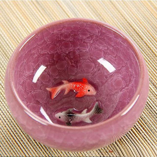 Ice Crack Glaze Ceramic Kung Fu Tea Set Anaglyph Fish Cup On Single Cup Sample Tea Cup - <200Ml / Purple